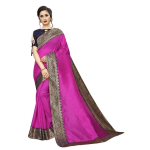 Generic Women's Zoya Silk Saree With Blouse(Pink,5-6Mtrs)