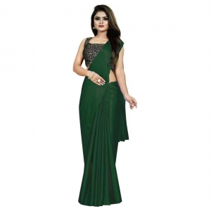 Generic Women's Satin Saree With Blouse(Green,5-6Mtrs)