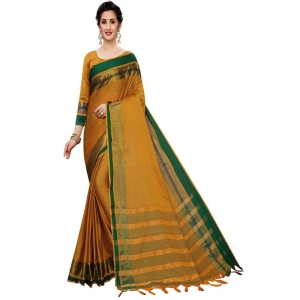 Generic Women's Polyster Cotton Saree With Blouse(Musturd Green,5-6Mtrs)