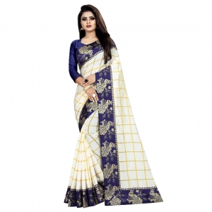 Generic Women's Panetar Silk Saree With Blouse(White,5-6Mtrs)