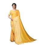 Generic Women's Linen Jacquard Cotton Blend Saree With Blouse(Yellow,5-6Mtrs)