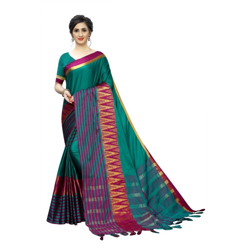 Generic Women's Polyster Cotton Saree With Blouse(Rama,5-6Mtrs)