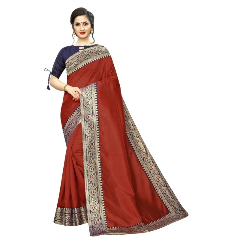 Generic Women's Zoya Silk Saree With Blouse(Red,5-6Mtrs)