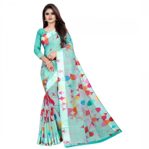 Generic Women's Linen Cotton Blend Saree With Blouse(SkyBlue,5-6Mtrs)