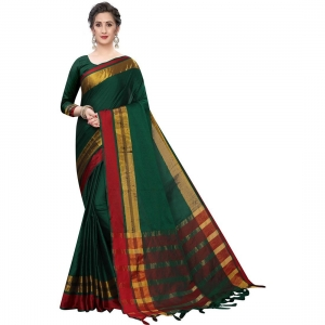 Generic Women's Polyster Cotton Saree With Blouse(Green Red,5-6Mtrs)