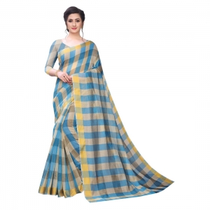 Generic Women's Chanderi Art Silk Saree With Blouse(SkyBlue,5-6Mtrs)