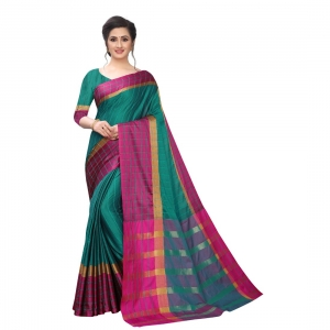 Generic Women's Polyster Cotton Saree With Blouse(Rama Pink,5-6Mtrs)
