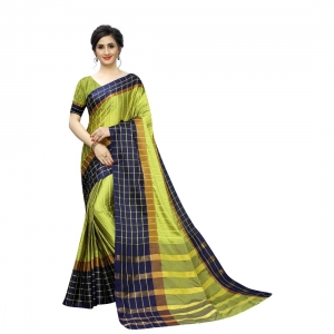 Generic Women's Polyster Cotton Saree With Blouse(Parrot,5-6Mtrs)