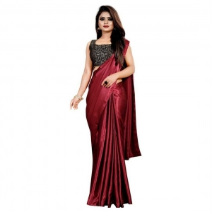 Generic Women's Satin Saree With Blouse(Maroon,5-6Mtrs)