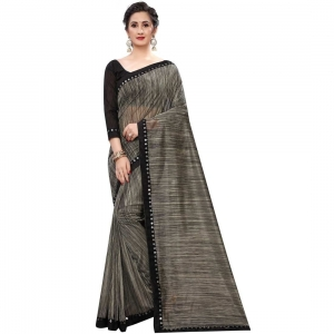 Generic Women's Lycra Silk Saree With Blouse(Black,5-6Mtrs)