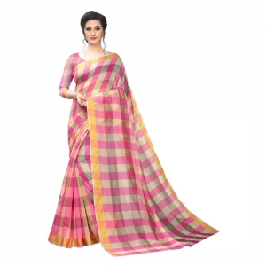 Generic Women's Chanderi Art Silk Saree With Blouse(Pink,5-6Mtrs)