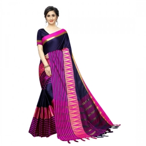 Generic Women's Polyster Cotton Saree With Blouse(Pink,5-6Mtrs)
