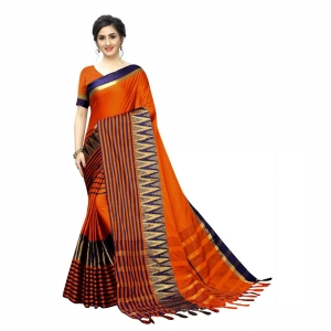 Generic Women's Polyster Cotton Saree With Blouse(Orange,5-6Mtrs)