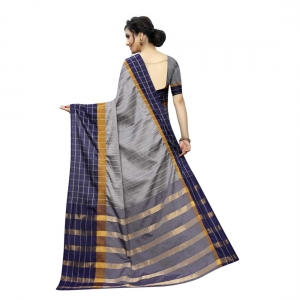 Generic Women's Polyster Cotton Saree With Blouse(Grey,5-6Mtrs)