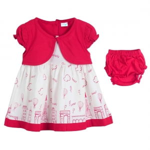 Generic Cotton Kidswear Half Sleeve Frock With Bottom Set(Material: Cotton,Color:Deep Pink)