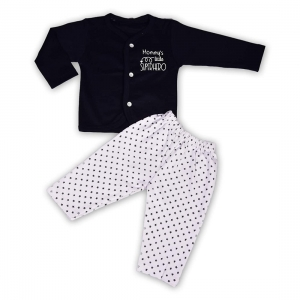 Generic Cotton Kidswear Full Sleeve Top With Bottom Set(Material: Cotton,Color:Blue)