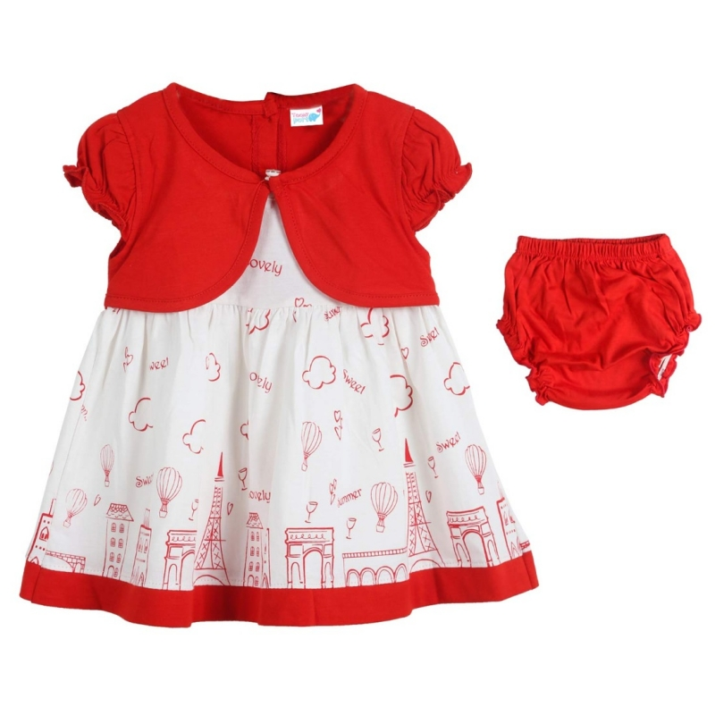 Generic Cotton Kidswear Half Sleeve Frock With Bottom Set(Material: Cotton,Color:Red)