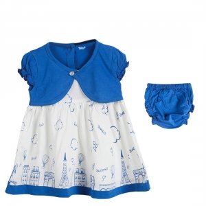Generic Cotton Kidswear Half Sleeve Frock With Bottom Set(Material: Cotton,Color:Blue)
