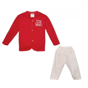Generic Cotton Kidswear Full Sleeve T-Shirt With Full Pant Set(Material: Cotton,Color:Red)