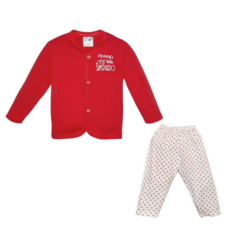 Generic Cotton Kidswear Full Sleeve Top With Bottom Set(Material: Cotton,Color:Red)