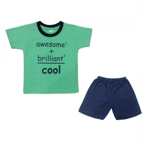 Generic Cotton Kidswear Half Sleeve T-Shirt With Half Pant Set(Material: Cotton,Color:Green)