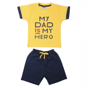 Generic Cotton Kidswear Half Sleeve T-Shirt With Half Pant Set(Material: Cotton,Color:Yellow)