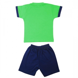 Generic Cotton Kidswear Half Sleeve Top With Bottom Set(Material: Cotton,Color:Green)
