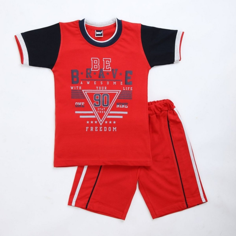 Generic Cotton Kidswear Half Sleeve T-Shirt With Half Pant Set (Material: Cotton, Color:Red)