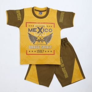 Generic Cotton Kidswear Half Sleeve T-Shirt With Half Pant Set (Material: Cotton, Color:Yellow)