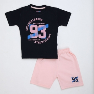 Generic Cotton Kidswear Half Sleeve T-Shirt With Half Pant Set (Material: Cotton, Color:Blue)