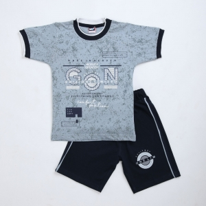 Generic Cotton Kidswear Half Sleeve T-Shirt With Half Pant Set (Material: Cotton, Color:Grey)