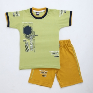 Generic Cotton Kidswear Half Sleeve T-Shirt With Half Pant Set (Material: Cotton, Color:Green)