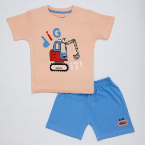 Generic Cotton Kidswear Half Sleeve T-Shirt With Half Pant Set (Material: Cotton, Color:Pink)