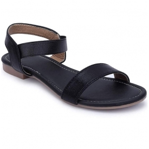 Generic Women's Patent Leather Flat Sandals (Color:Black, Material:Patent Leather)
