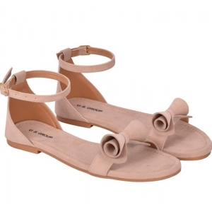Generic Women's Patent Leather Flat Sandals (Color:Cream, Material:Patent Leather)