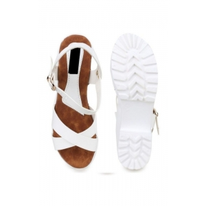 Generic Women's Patent Leather Heel Sandals (Color:White, Material:Patent Leather)