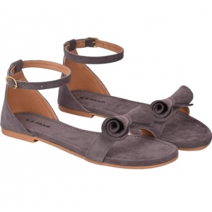Generic Women's Patent Leather Flat Sandals (Color:Grey, Material:Patent Leather)