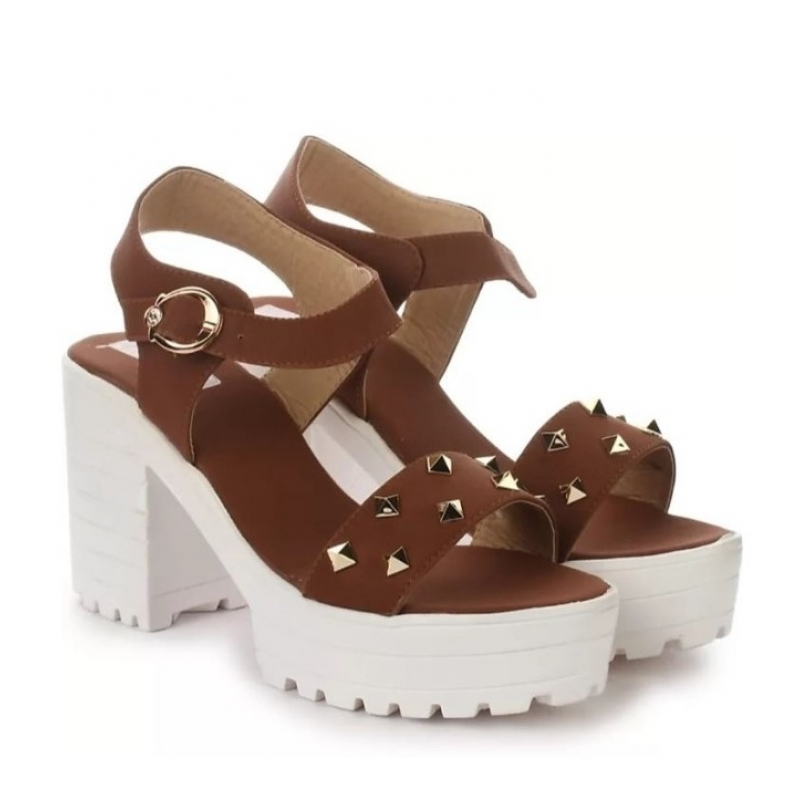 Generic Women's Patent Leather Heel Sandals (Color:Rust, Material:Patent Leather)