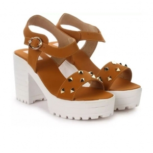 Generic Women's Patent Leather Heel Sandals (Color:Teal, Material:Patent Leather)
