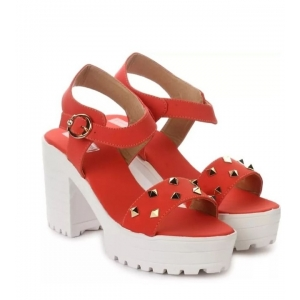 Generic Women's Patent Leather Heel Sandals (Color:Red, Material:Patent Leather)