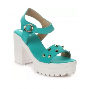 Generic Women's Patent Leather Heel Sandals (Color:Sea Green, Material:Patent Leather)
