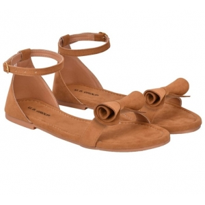 Generic Women's Patent Leather Flat Sandals (Color:Beige, Material:Patent Leather)