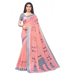 Generic Women's Linen Printed Saree With Blouse (Pink, 5-6 Mtrs)