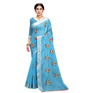Generic Women's Cotton Blend Embroider Saree With Blouse (Sky Blue, 5-6 Mtrs)