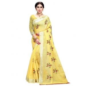 Generic Women's Cotton Blend Embroider Saree With Blouse (Yellow, 5-6 Mtrs)