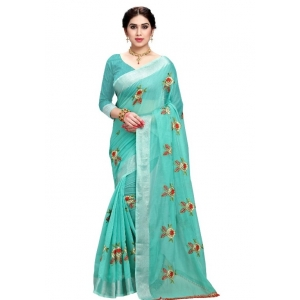 Generic Women's Cotton Blend Embroider Saree With Blouse (Seagreen, 5-6 Mtrs)