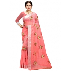 Generic Women's Cotton Blend Embroider Saree With Blouse (Peach, 5-6 Mtrs)