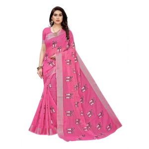 Generic Women's Linen Blend Digital Print Saree With Blouse (Pink, 5-6 Mtrs)