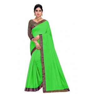 Generic Women's Chanderi Cotton Lace Border Saree With Blouse (Green, 5-6 Mtrs)