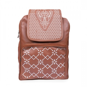 Generic Women's Faux Leather Backpack Bag (Tan)